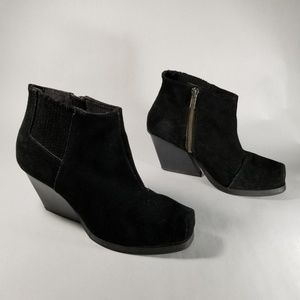 Cheap Monday Black Suede Angle Heel Ankle Boots